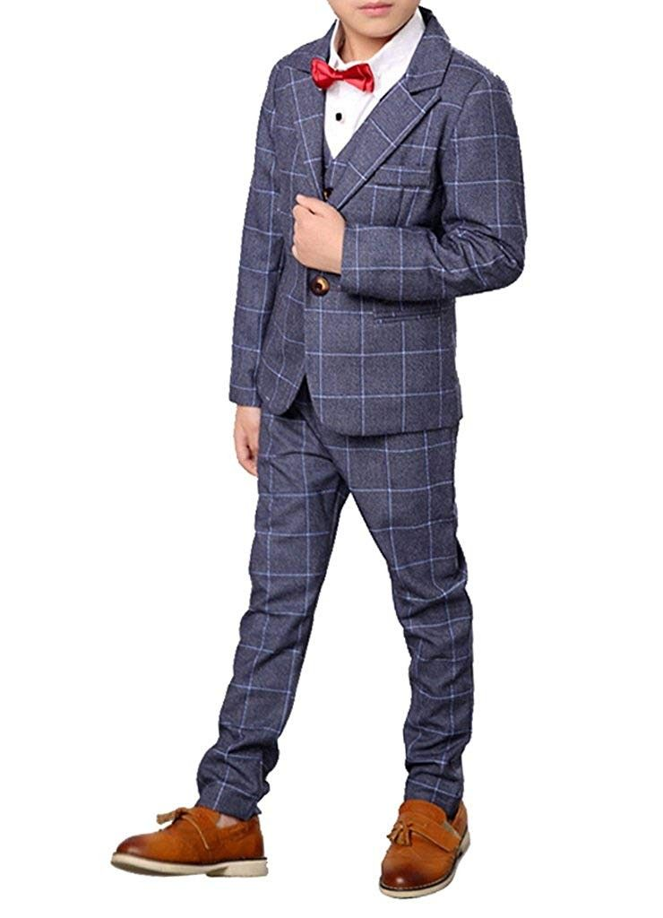 Boys Plaid Suits 3 Pieces Jacket Vest and Pants Set Blue Gray and Purple