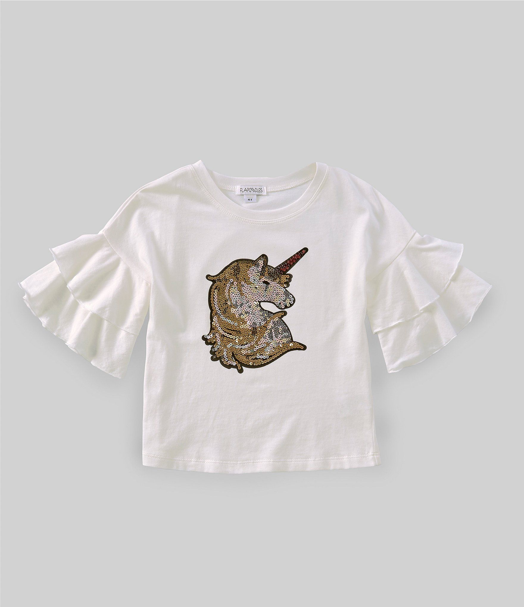 Flapdoodles Little Girls 2T-6X Bell-Sleeve Unicorn Tee | Dillard's