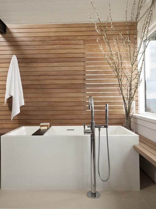 Design & Decorating: Modern Bathroom With Natural Teak Wood Wall ...