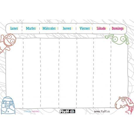 Calendario Divertido Para La Organización Infantil Semanal Planificador Semanal Planificador Lectura Y Escritura