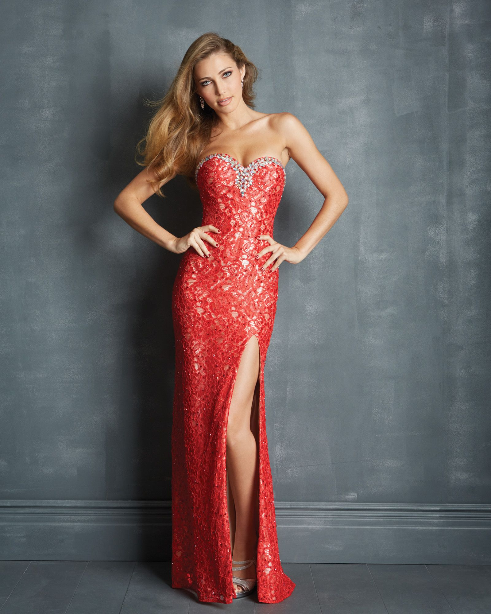 Beautiful sophisticated lace and beading from night moves prom