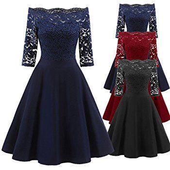 TWIFER Damen Off Shoulder Kleid Vintage Spitze Patchwork Cocktail ...