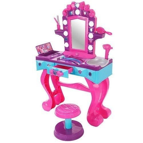 Toys For Hair : Girls pink beauty salon vanity set stool mirror kids
