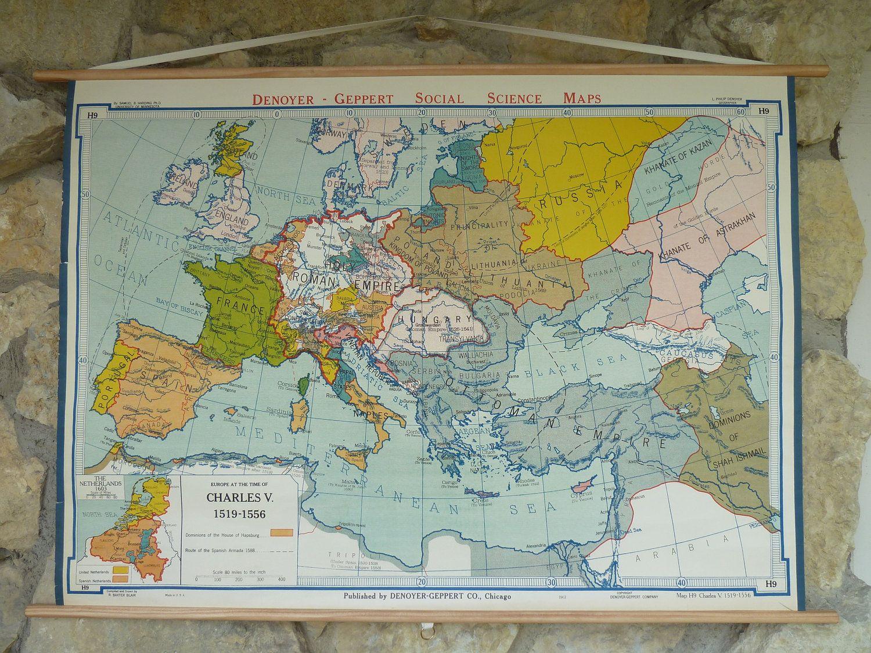 Vintage School Map by Denoyer Geppert