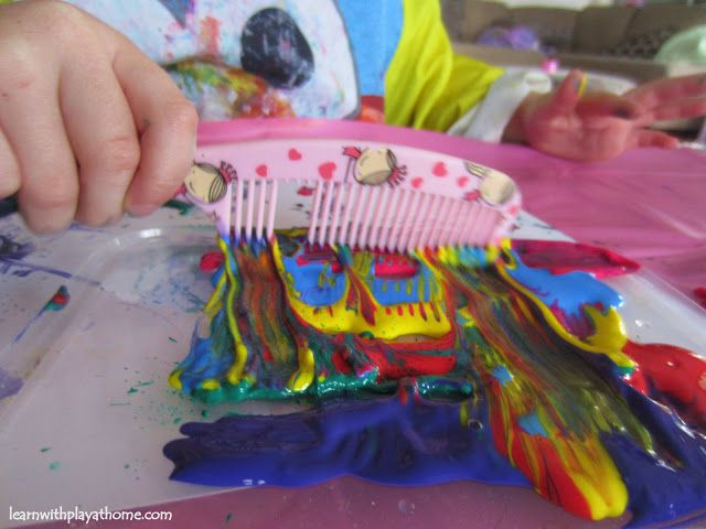 Learn with Play at home: Comb Painting