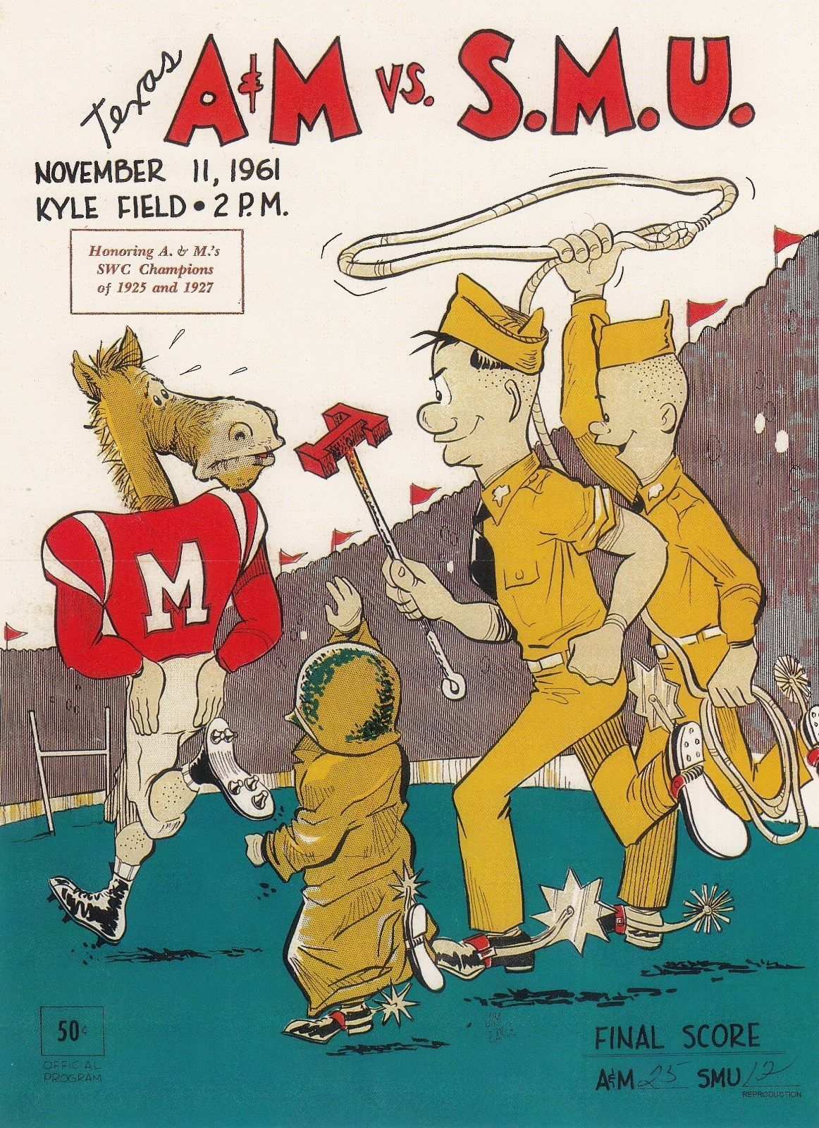 1961 Game Program between Texas A&M vs SMU at Kyle Field