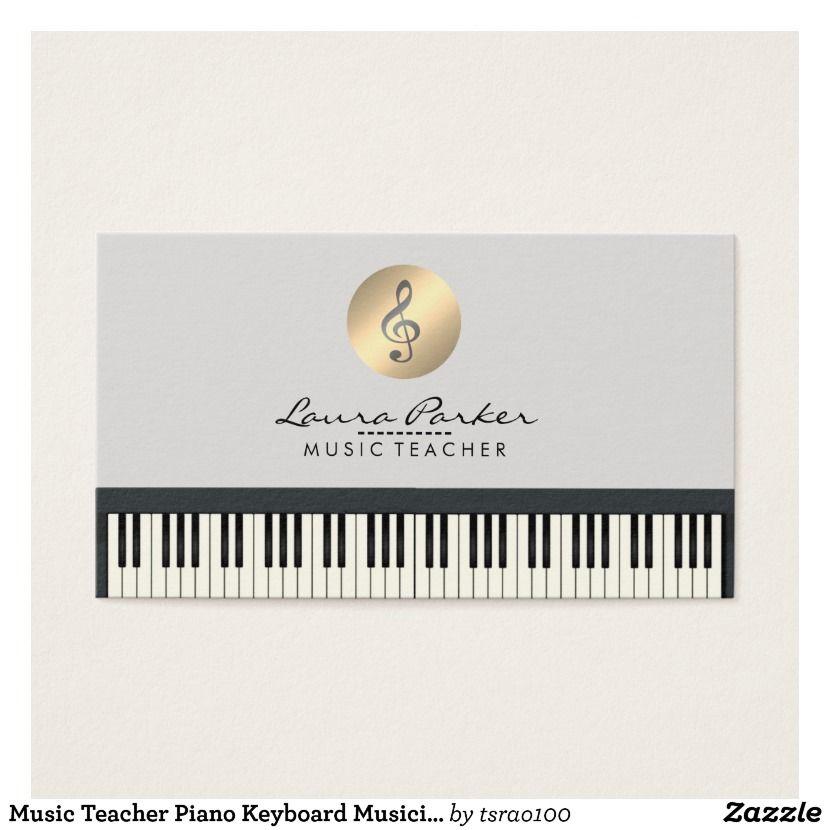 Music Teacher Piano Keyboard Musician Pianist Business Card ...