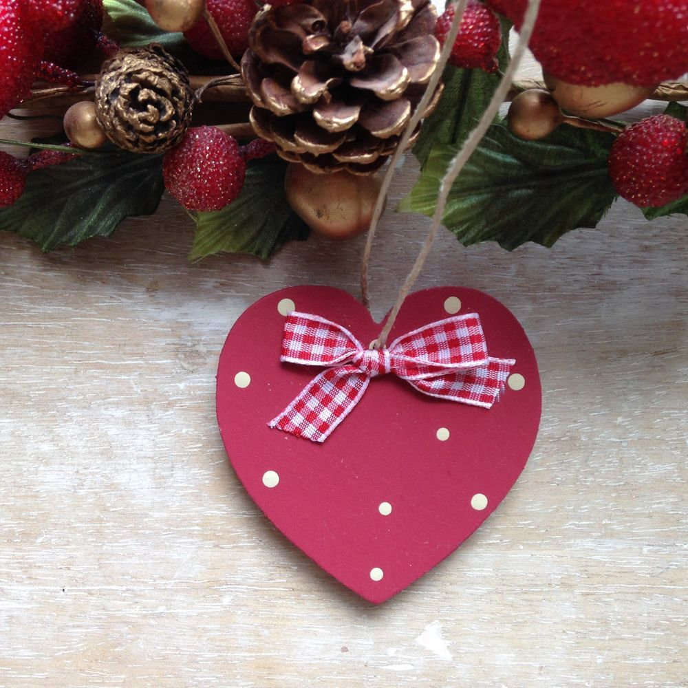 Handpainted Country Heart Wooden Christmas Tree Heart Decoration ...