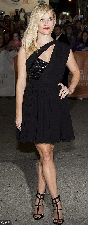 Reese Witherspoon looked totally glam in her cutout LBD at the premiere of her movie Wild at #TIFF14 http://dailym.ai/1tthVMe
