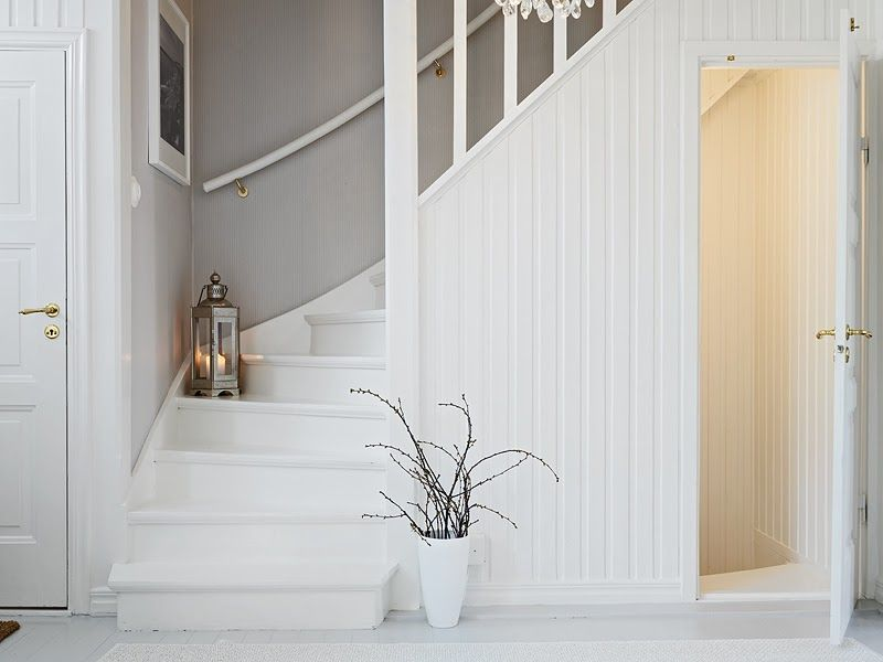Lovely White And Grey Stair Case Down To Basement This Is Such A Nice Way To Join The Space Love The White Wood Attic Remodel Attic Renovation House Stairs