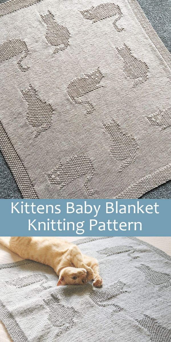 Kittens baby blanket Knitting pattern by MotherOfPurlPatterns
