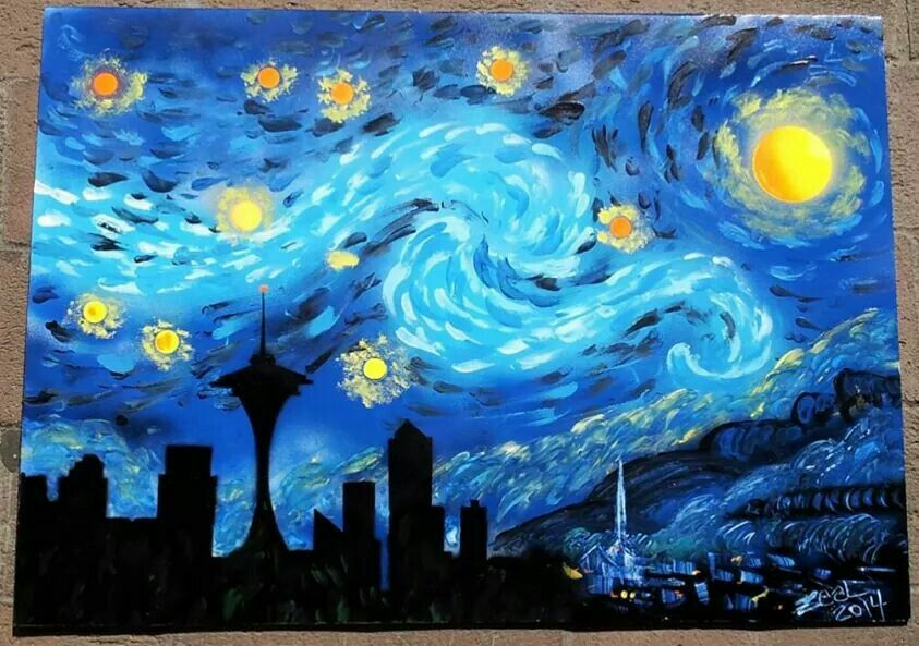 Seattle Starry Night Spray Paint On Posterboard 22 X 28