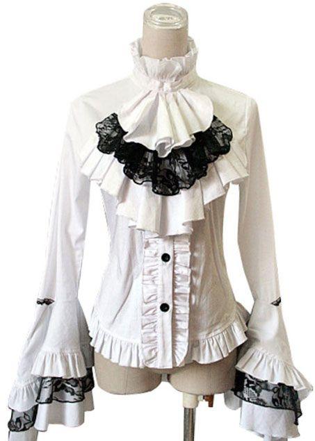 chemise blanche a jabot et dentelle noire punk rave y 213 japan attitude vetche005 shop. Black Bedroom Furniture Sets. Home Design Ideas