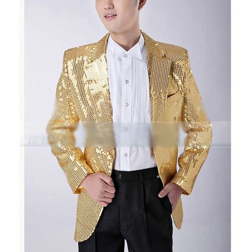Custom Mens Gold Sequin Slim Fit Fashion Wedding Prom Suits Tuxedo ...