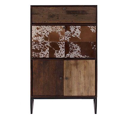 meuble de bar en bois de manguier 2 tiroirs marron et blanc cass 90 x 45 x 145 cm