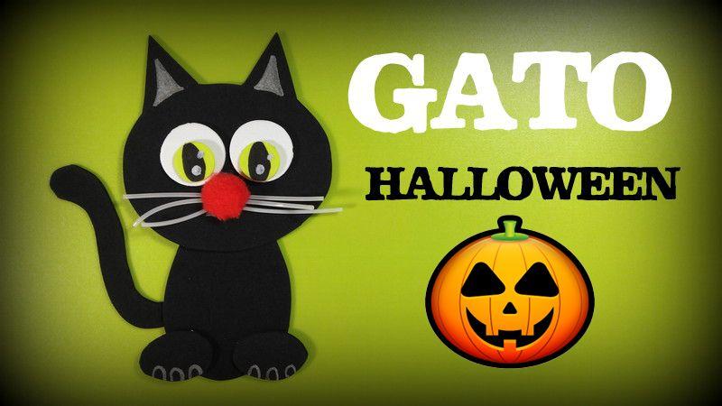Gato negro de goma eva para decorar tu fiesta de Halloween - http://www.manualidadeson.com/gato-negro-decorar-fiesta-halloween.html