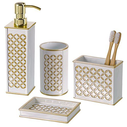 Diamond Lattice 4piece Bathroom Accessories Set Includes Soap Dispenser Toothbrush Hol Bathroom Accessories Sets Gold Bathroom Accessories Bath Accessories Set