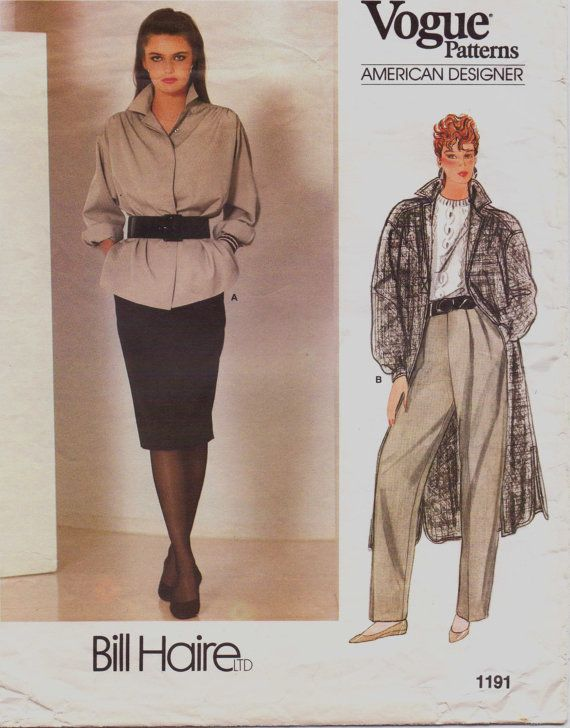 80s Bill Haire Vogue American Designer Sewing Pattern 1191 Womens Jacket or Coat, Pants & Skirt Size 12 Bust 34
