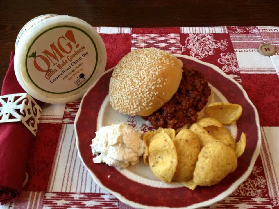 Sloppy Joes, corn chips and OMG! Onion dip  if you have not tried  it, i suggest you do very soon!