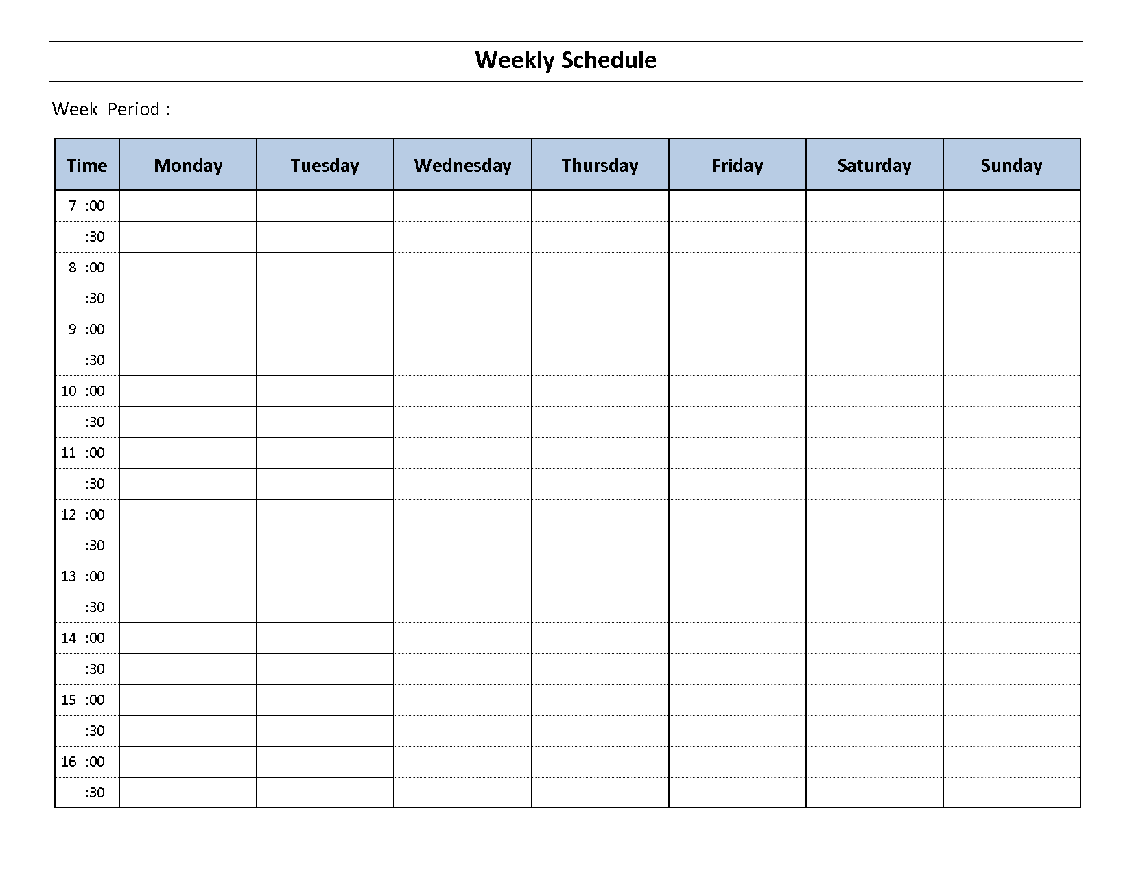 Ridiculous image pertaining to weekly schedule printable