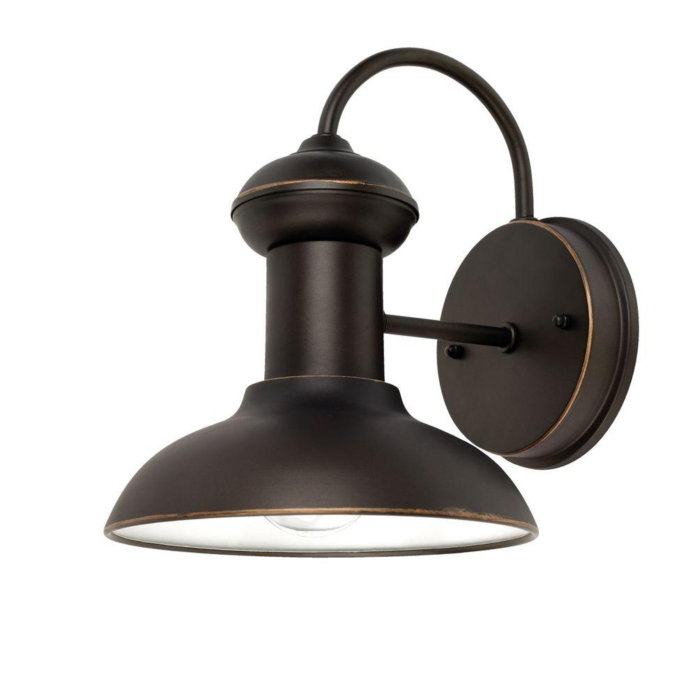 Globe Electric Martes 10 In Oil Rubbed Bronze Downward Indoor Outdoor Wall Lantern Sconce Light 40190 The Home Depot Wall Lantern Outdoor Wall Mounted Lighting Globe Electric
