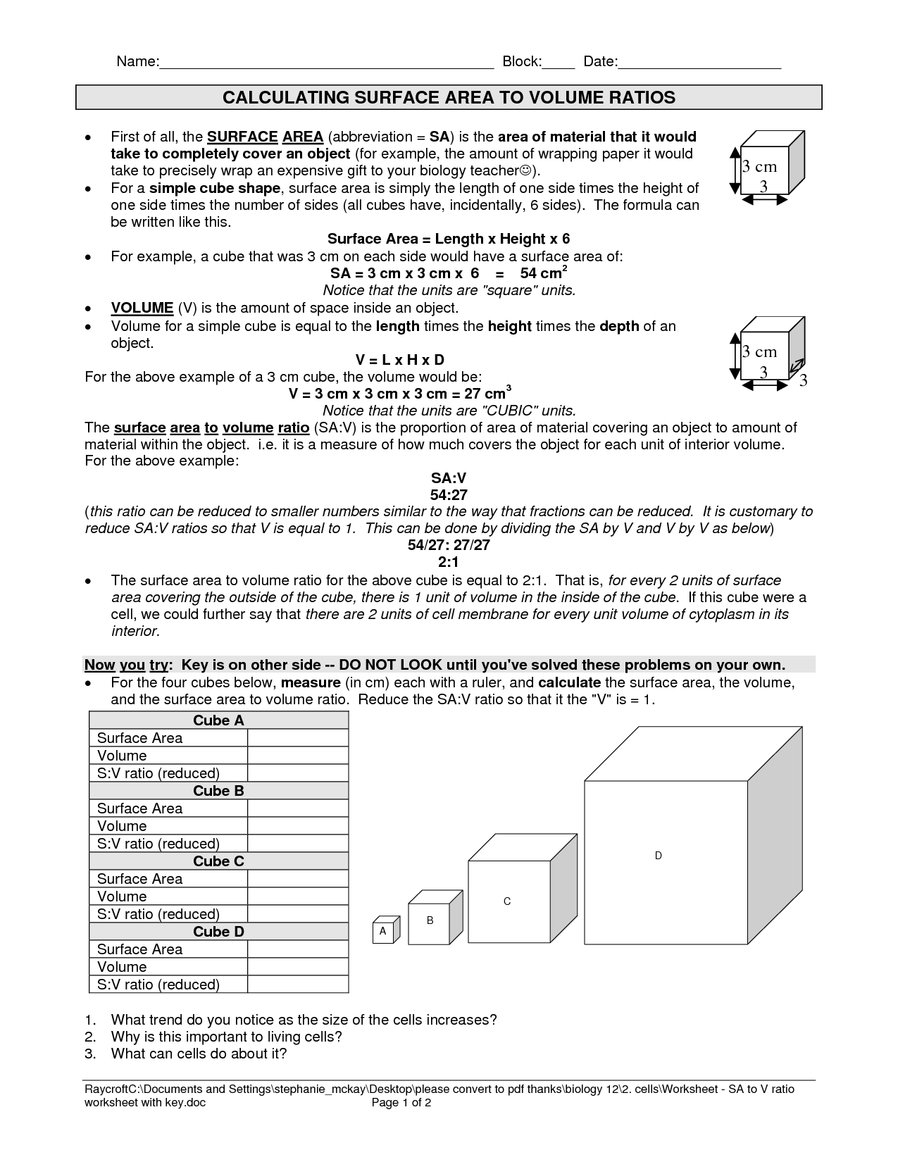 worksheet Volume And Surface Area Worksheets Grade 10 surface area to volume ratio cells worksheet google search search