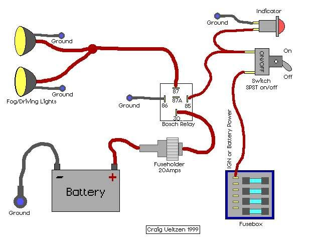 Tremendous Wiring Diagram For Driving Lights With A Relay Basic Electronics Wiring Digital Resources Antuskbiperorg