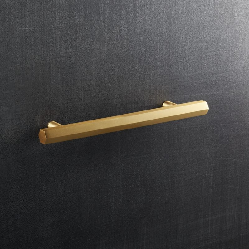 Hex Brushed Brass 5 Handle Brass Handles Brushed Brass Hexagon
