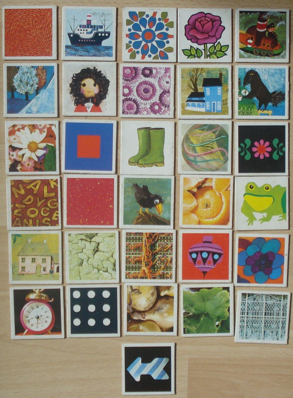 Vintage memory kaarten, 1974, karton, hobbymateriaal, 31 stuks, 5,5 x 5,5 cm  [c] by LabelsAndMore on Etsy