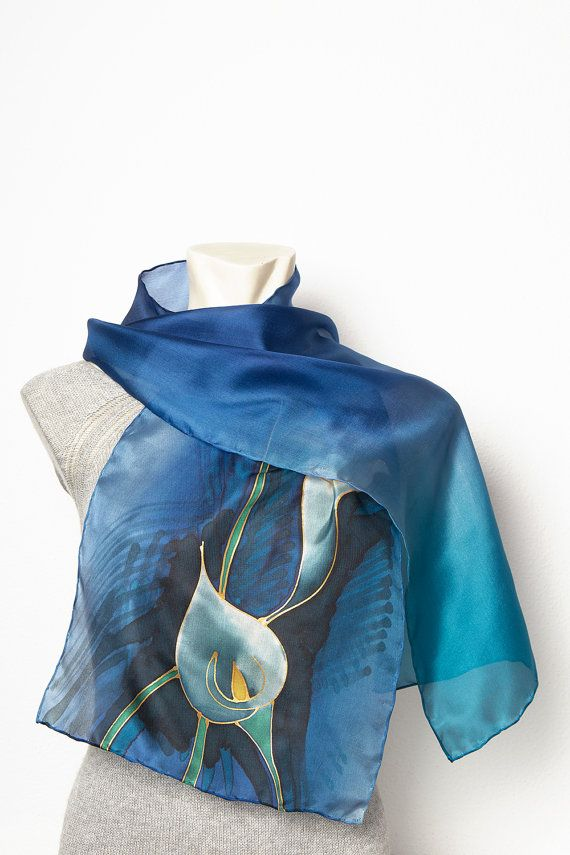 Exclusive Present Elegant Hand painted Silk Calla by LigaKandele