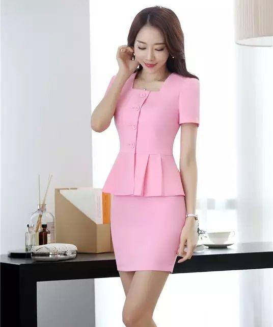 605bf8e853210 Nuevo estilo 2018 mujeres negocios trajes unidades 2 piezas falda y Top  conjuntos Rosa chaqueta de