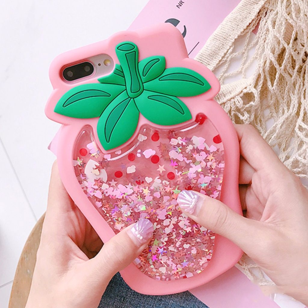 Iphone 3d strawberry glitter case 3d iphone cases