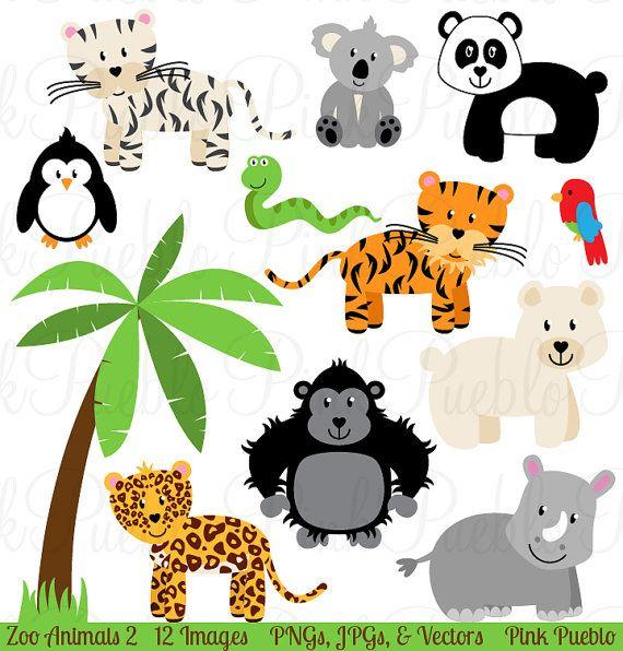 Zoo Animal Clip Art 2 Zoo Animal Clipart Safari Jungle Etsy Animal Clipart Zoo Animals Clip Art