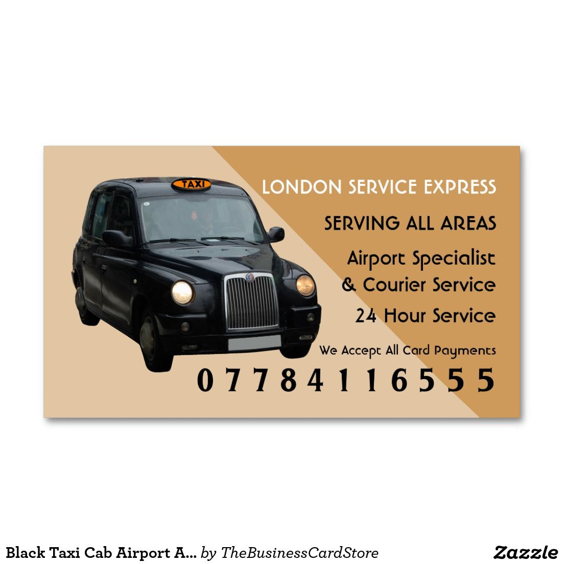 Black Taxi Cab Airport And Station Price Lists Business Card | Taxi ...