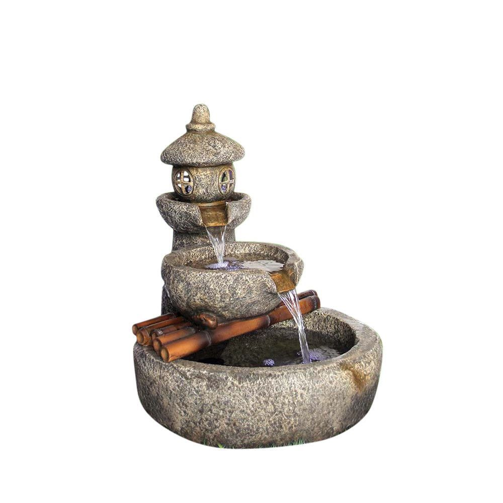 Tranquil Springs Zen Pagoda Garden Fountain With Lights