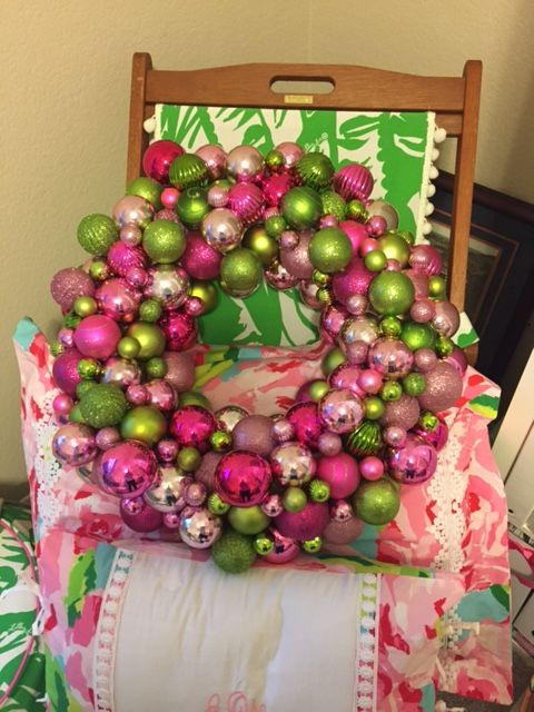 My Christmas Wreath For My Lilly Pulitzer Office. I Love This So Much.