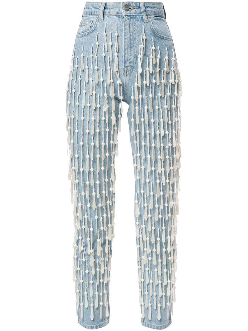 Photo of Dalood All-Over Pearl-Bead High-Rise Jeans Aw19