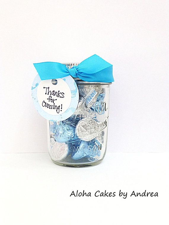 Baby Shower Favor It S A Boy Mason Jar Thank You Gift Blue White Personalized Party Favor First Baby Shower Favors Turquoise Baby Showers Baby Boy Shower