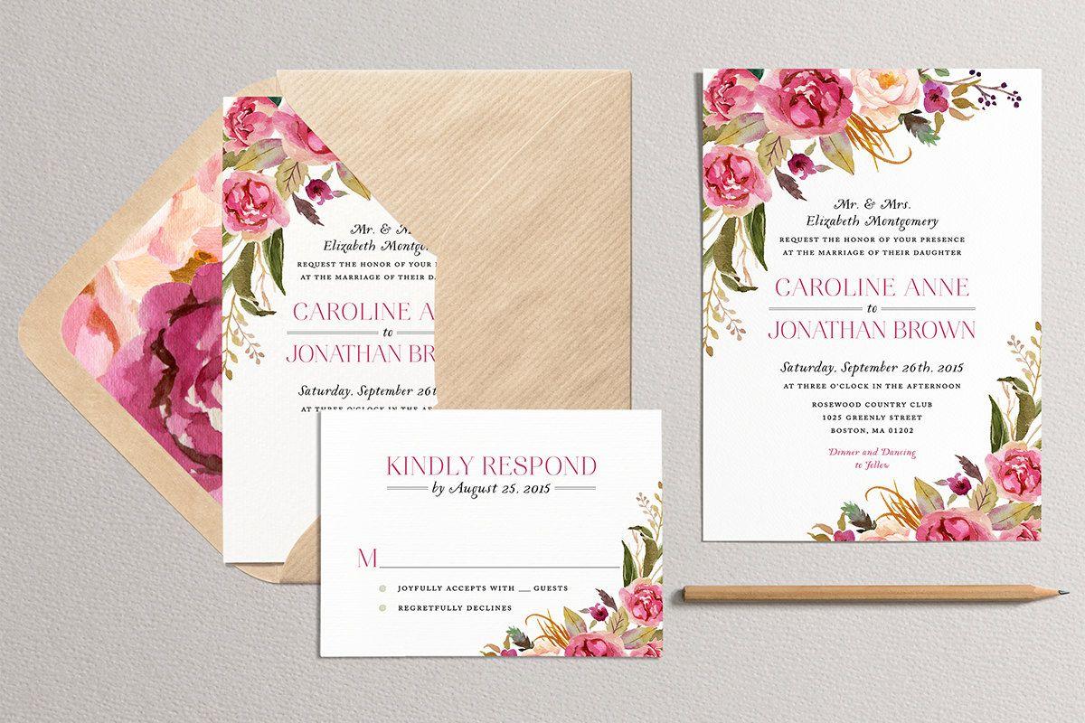 Printable Floral Wedding Invitation, Modern Wedding Invitation ...