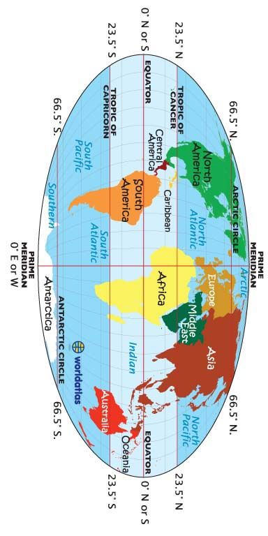 World Map Equator Tropic Of Cancer Capricorn Prime Meridian Term 1