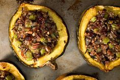 Roasted Acorn Squash with Wild Rice Stuffing (either TJ's wild rice mix, or cook wild rice and mix with brown according to directions) Vegetarian