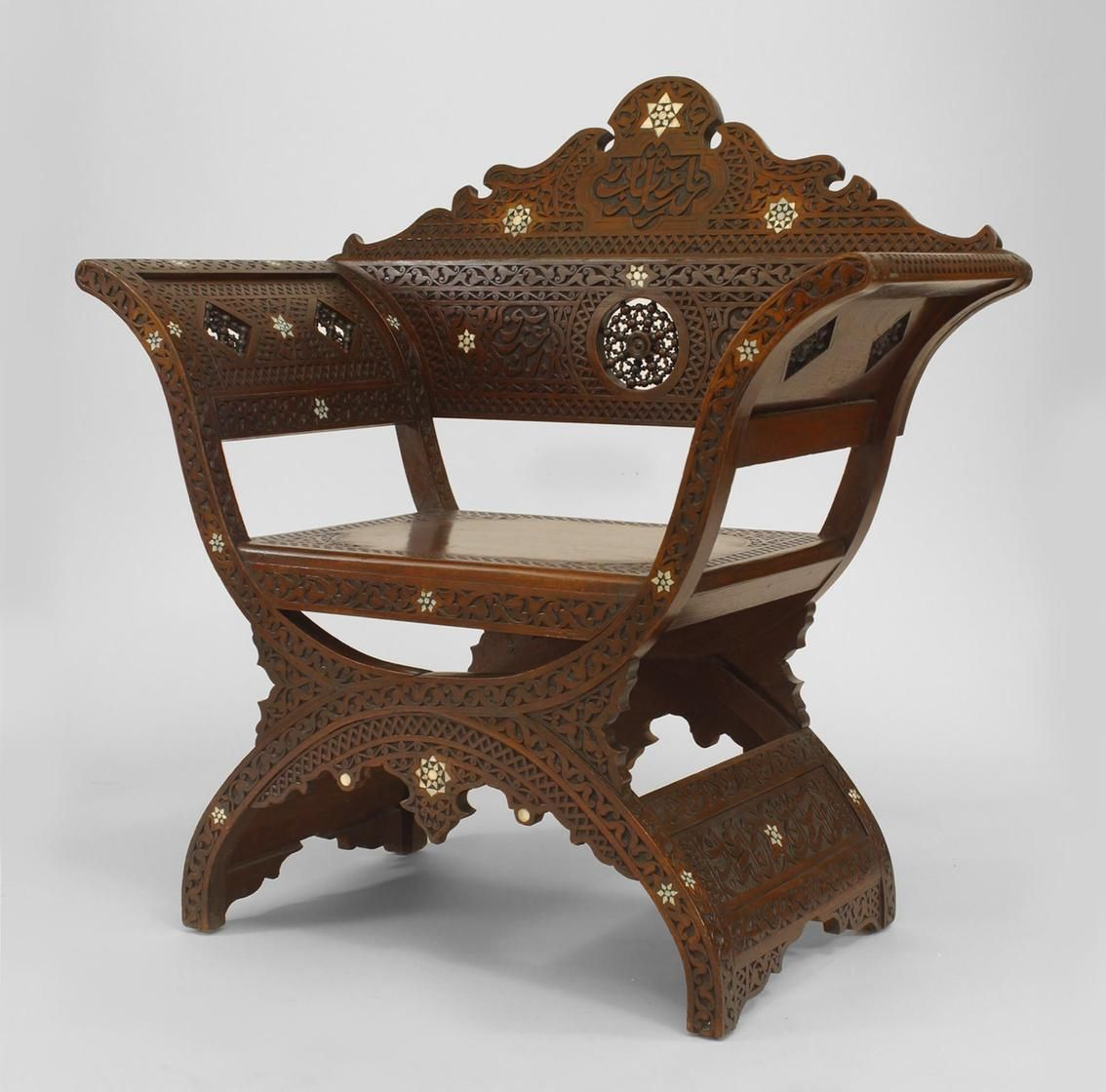 Middle Eastern Moorish Carved Walnut Savanarola Style Arm Chair With Spindle And Ball Round Back