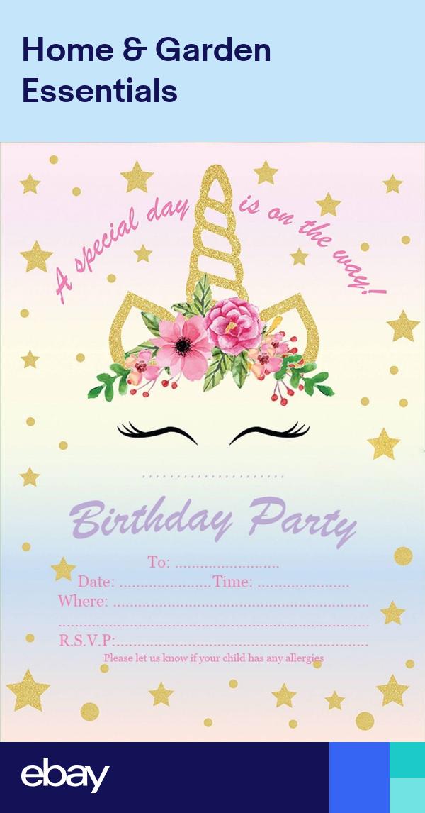 Childrens Unicorn Birthday Party Invitations Kids Invites Pink Girls Uni3 Party Invitations Kids Kids Invitations Unicorn Birthday Party Decorations
