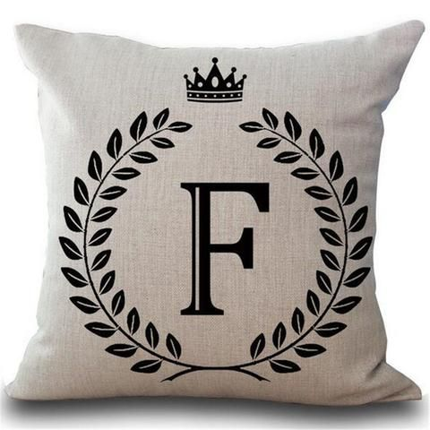 Crown Letter 43 43cm Cotton Linen Pillow Cushion Cover A B C D E F
