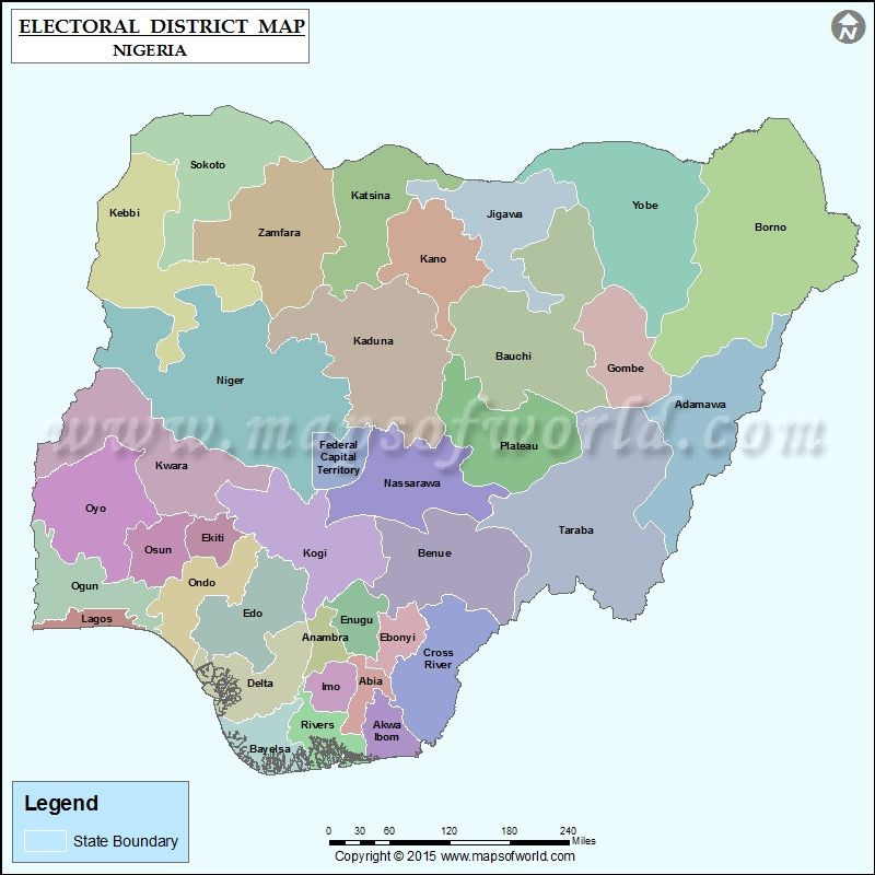 NigeriaElection Map showing the Electoral Districts of Nigeria
