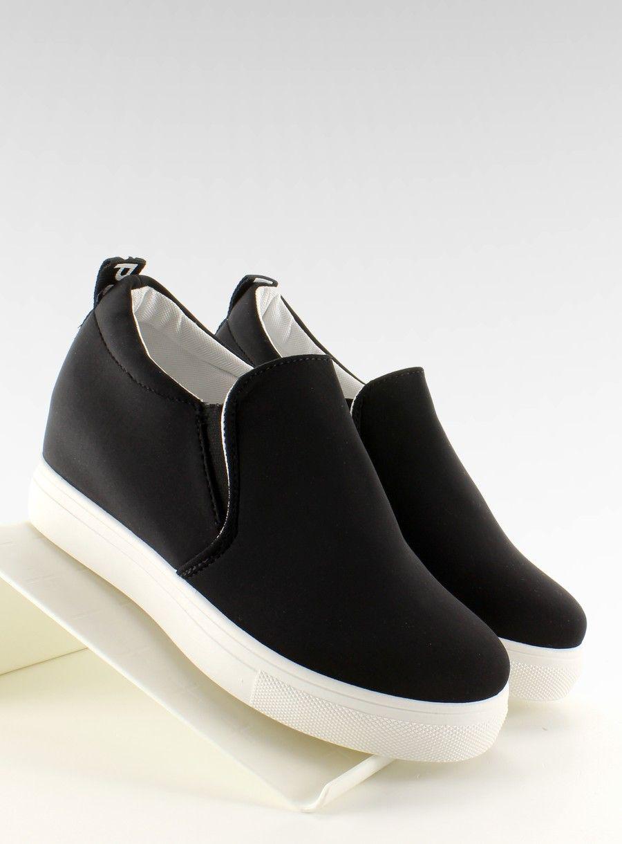 Slip On Na Koturnie Z Tkaniny 6 6 Czarny Slip On Sneakers Slip On Sneakers