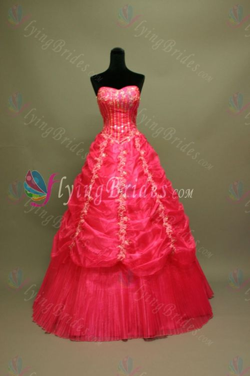 Beautiful Red Spaghetti Straps Strapless Floor-Length Satin Organza Quinceanera Dress