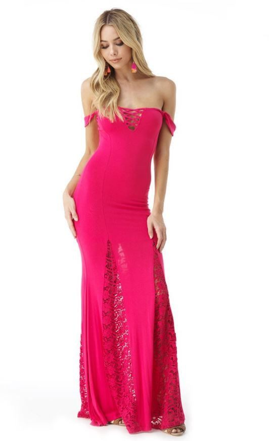 c6de120f1f5 Enjoy a night out with this off the shoulder maxi. 93% Rayon 7% Spandex  MADE IN THE USA Model is wearing XS