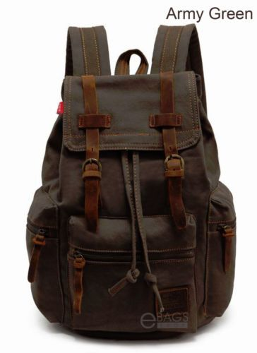 b4c8db7245 Details about Men Women Travel Canvas Backpack Rucksack Camping ...