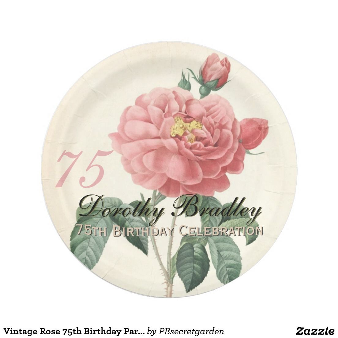 Vintage Rose 75th Birthday Party Paper Plates 2 | Custom Party PAPER ...
